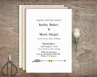 Black and gold wedding invitations, Printable wedding invitation, Digital invitation, Custom wedding invitation, Modern Wedding, BD-6003