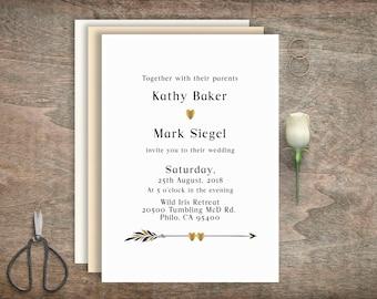 Black and gold wedding invitations, Printable wedding invitation, Digital invitation, Custom wedding invitation, Modern Wedding, BD-6003