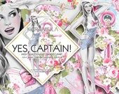 Nautical Clipart Pink Fashion Illustrations Pinup Girl with Anchor and Flowers Retro Sea Bech Romantic Planner Stickers Supplies Scrapbook