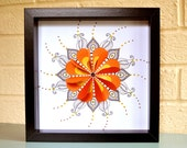 Framed mandala picture zentangle art mandala wall art 3D mandala folded hearts