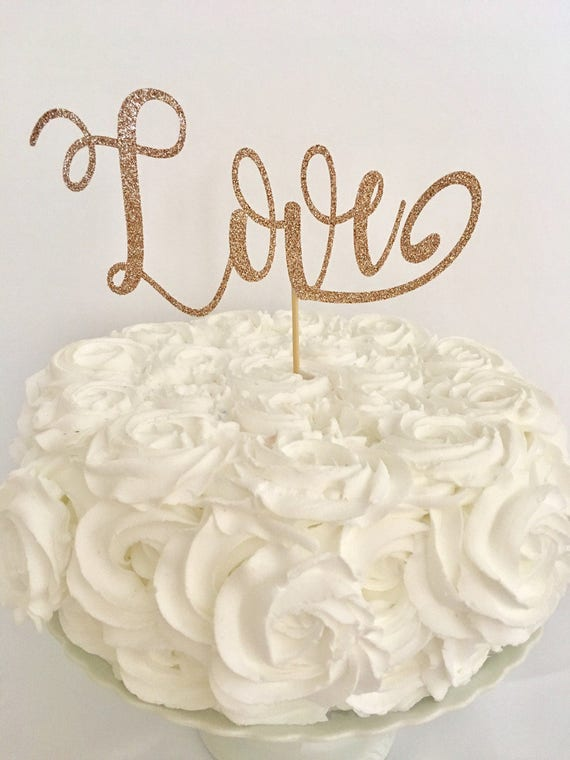 rose gold love wedding cake topper wedding cake topper glitter gold cake 19279