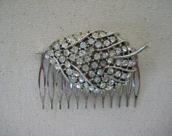 Vintage Hair Comb, Bridal, Leaf, Clear Rhinestones, Wedding, Gift for Her, Repurposed Jewelry, Recycled, Upcycled, Eco Friendly, OOAK/hc34