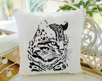 Pillowcase cat, ocelot embroidery