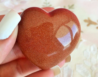 Goldstone Crystal Heart Stone Perfect for Love, Meditation,Crystal Gridding