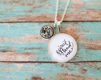 Spirit Lead Me Faux Druzy Necklace, Christian Gifts for Teen Girls, Charismatic Jewelry, 602025