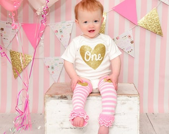 First Birthday - Birthday Girl - 1st Birthday outfit - ONE - One Year Old - Glitter Heart - Smash Cake Birthday - First Birthday Girl