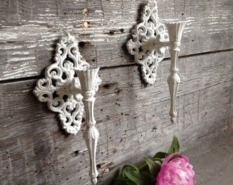 French Country Baroque Candle Sconces, Vintage White Ornate Shabby Metal Wall Candle Holders, Rustic Chic Bed Bath Wedding Decor