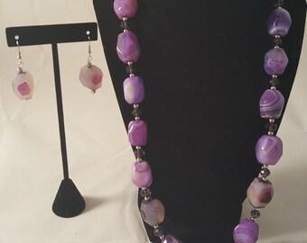 Purple Agate Stone Necklace & Earrings - Purple Stone Earrings - Purple Stone Necklace - Purple Necklace - Purple Earrings - Purple Jewelry