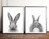 Rabbit print, Bunny bum, Rabbit tail, Black and white, PRINTABLE art set, Nursery wall art, Woodland animals, Nursery art, Baby animal print
