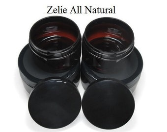Set of Four (4) Empty Jars Two (2) 4 oz. and Two (2) 8 oz. Low Profile Amber Plastic Empty Containers with Black Lids,