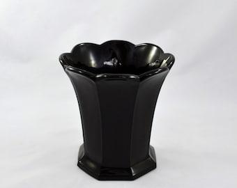 Vintage Glass Black Flower Vase, Amethyst Flower Vase