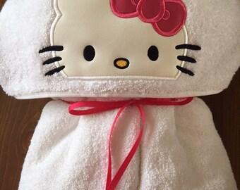 Kitty Hooded Towel - Hooded Towel - Towel - Childs Hooded Towel - Bath Towel - RedRockCraftsWY
