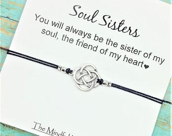 Soul Sister Bracelet | BFF Celtic Charm Bracelet | Long Distance Friends | Best Friend Gift | Soul Sister Card | BFF Gift Bracelet