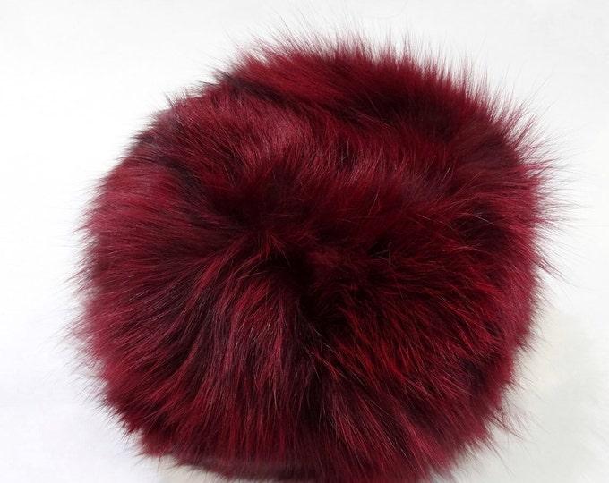 Real Fox Fur Hat, Bordo Furry hat, Red Hat F529