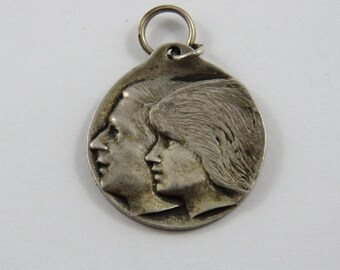 Princess Diana and Prince Charles Side View Sterling Silver Charm or Pendant.