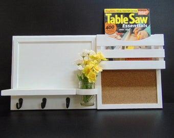 Dry Erase - Magazine Holder - Cork Board - Dryerase - Wood - Mail Holder - Message Center - Key Hooks