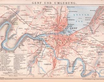 Map of Geneva, Switzerland from 1890
