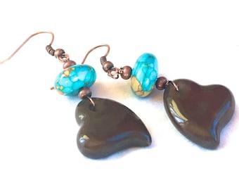 Copper & Turquoise Heart Earrings, ceramic heart earrings bead jewelry bohemian dangle earrings earthy jewelry rustic boho jewelry