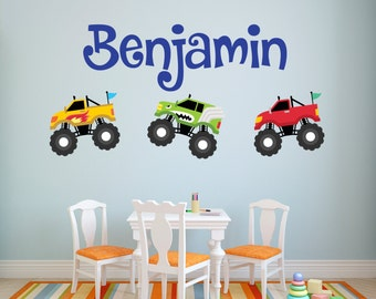 Monster Truck Wall Decal - Personalized Name Wall Decal - Truck Wall Decal - Kids Wall Decal - Kids Room Decor - Boys Room Vinyl Wall Decal