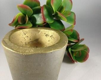 Gold Concrete Planter, Succulent Planter, Cement Planter