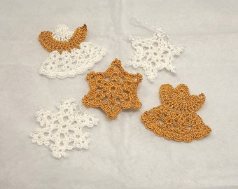 Snowflakes, crochet angels, set of ornaments, Christmas ornaments, Christmas tree decoration, gold flakes, Golden Angels