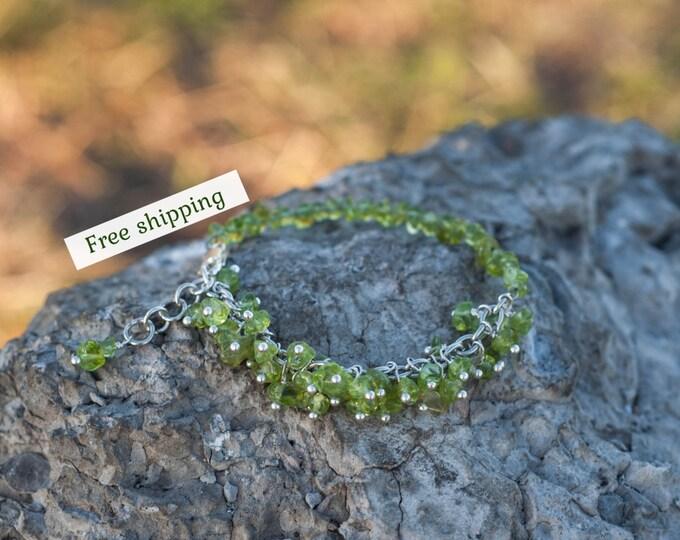 Peridot bracelet, Peridot jewelry, August birthstone jewelry, Olive bracelet, August birthstone bracelet, Peridot birthstone