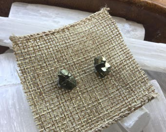 Raw Pyrite earrings posts studs