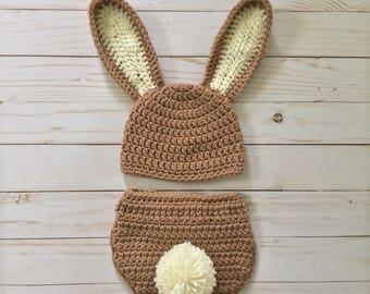Newborn Bunny hat and diaper cover, Newborn bunny  photo Prop, peter rabbit photo prop, Newborn bunny costume