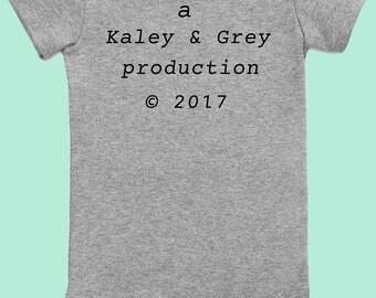 production onesie / newborn onesie / gender neutral gift / babyshower gift / funny onesie / custom onesie / baby boy onesie / custom onesie