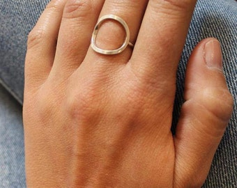Round ring in sterling silver, the ring circle