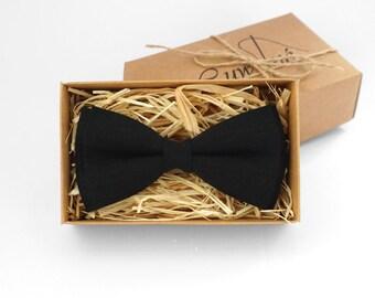 Black bow tie, Black linen bow tie, Black tie, black mens bow tie, bow ties for men, bow ties for wedding, black skinny tie, groomsmen tie
