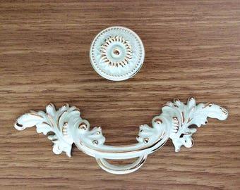 "2.5"" Shabby Chic Dresser Knobs Pulls Drawer Pull Handles Gold Cream White Kitchen Cabinet Handles Pulls Door Handle French Pulls 2 1/2"" 64"