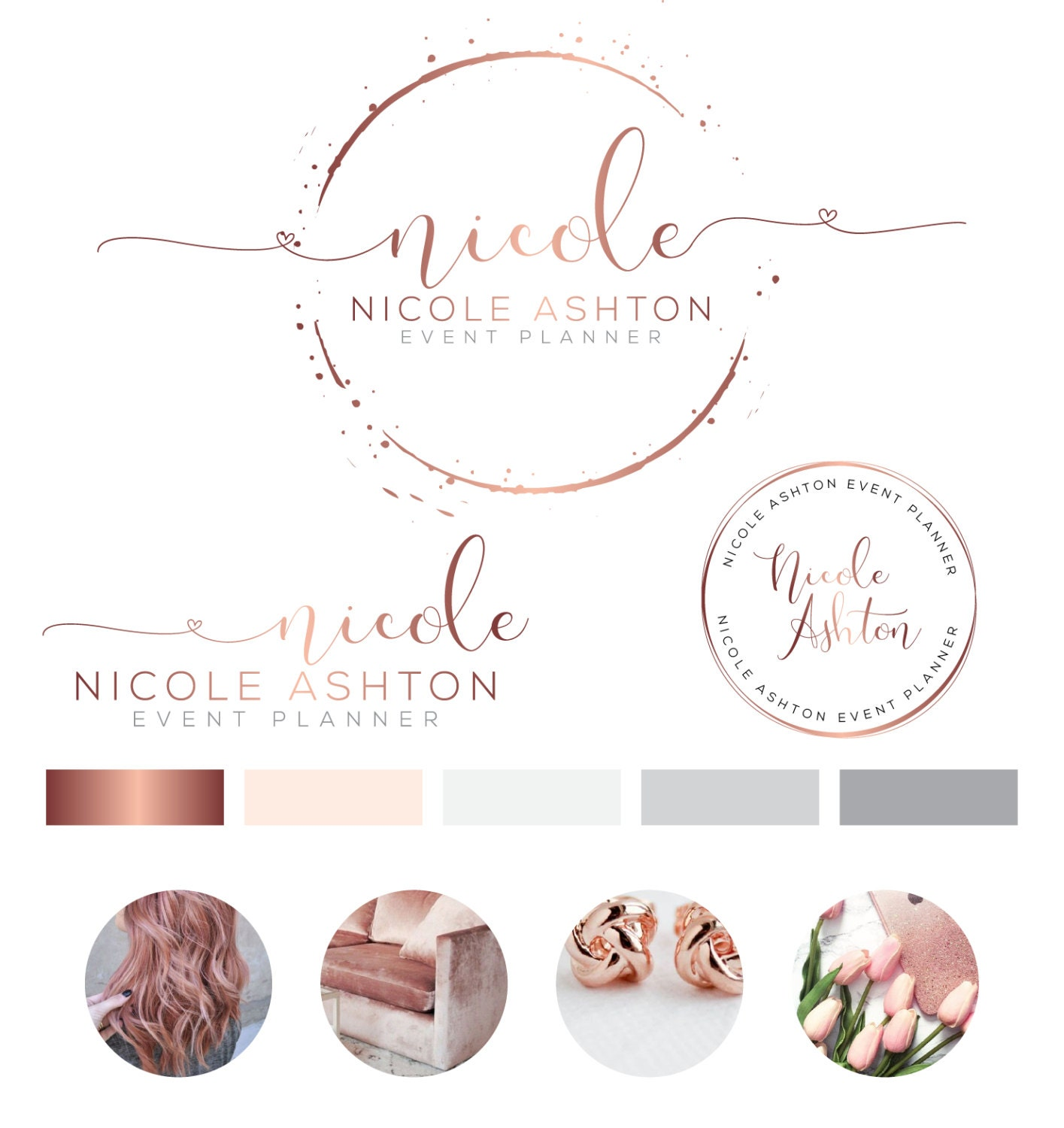 Heart logo design custom logo design rose gold by peachcreme for Interior design logo inspiration