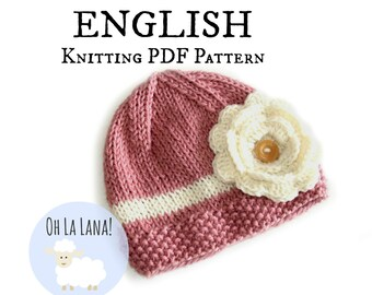 Girl hat Knitting PATTERN for babies and toddlers - ENGLISH - DIY Flower hat pattern - Beanie with flower pattern - Instant download