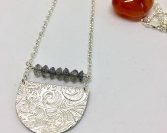 Floral labradorite bib necklace, statement necklace, imprinted silver, one of a kind, bridal necklace, Mother's Day present, special present