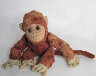 Vintage PLUSH stuffed MONKEY mascot Chimpanzee German Toy Mohair 1950s small monkey