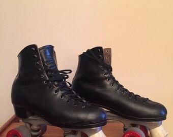 Men's Vintage Black Leather Roller Skates Size 10.