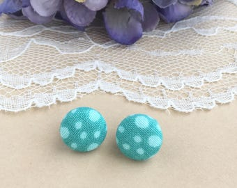 Aqua Polka Dot Fabric Stud Earrings, Aqua Polka Dots, Polka Dot Earrings, Fabric Earrings, Stud Earrings, Button Earrings, Simple Earrings