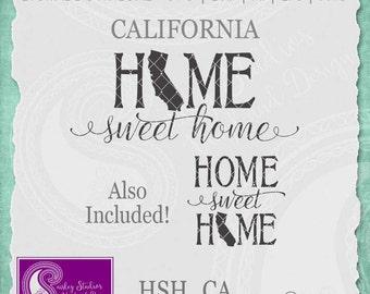 California SVG, California State Svg, Home Sweet Home SVG, California Pride, Home SVG, Svg Files, Silhouette Cut File, Cricut Cut Files