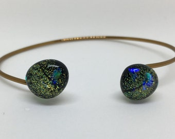 Green, Golden, Black Dichroic Glass - Fused Glass Bangle - Antique Bronze Wire