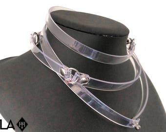 COIL / / Multi-way Clear Vinyl Minimalist Vegan Wrap Cuffs Collar