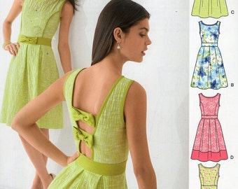 New Look 6208 Free Us Ship  Backless Bow Dress  Sewing Pattern Old Store Stock  Size 8/18 Bust 30 31 32 34 36 38 40
