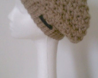 Slouchy beanie hat taupe brown hat soft warm knitted hat