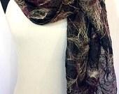Felted Scarf, Silk Felted Scarf, Nuno Scarf, Fashion Accessories, Felted Wrap, Wedding Accessories, Silk Shawl, Wearable Art: Shades of Grey