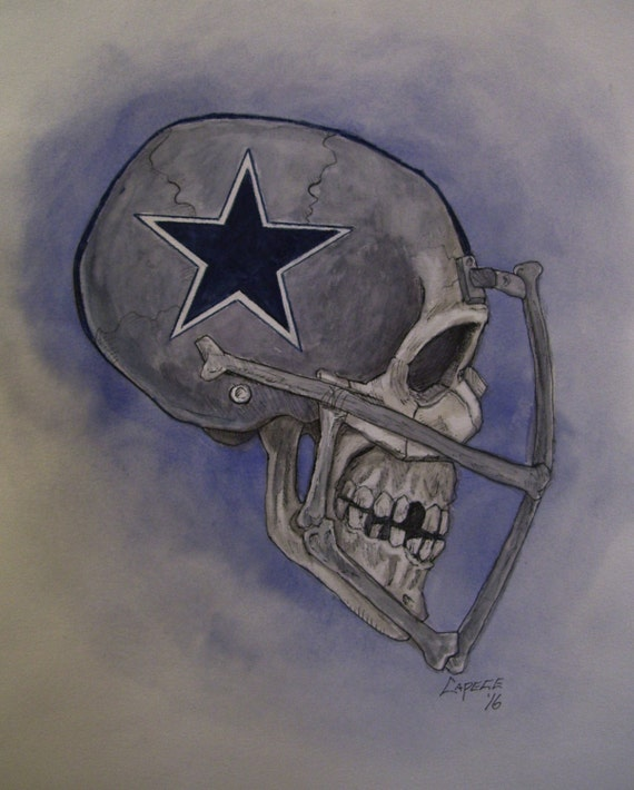 """Dallas Cowboys, Skull Helmet. 16"""" x 20"""" Original Watercolor Painting,ONE OF A KIND, Not a Print,Free Shipping Code SKYE2"""