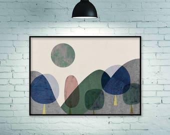 Geometric print, geometric art print, geometric poster, mountain art, mountain print, large print, horizontal art, horizontal wall art, art
