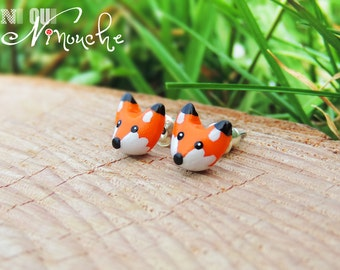 Stud Earrings / Stud mini Red Fox (fimo) small little fox Fox head