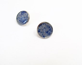 Large Post Earrings, Stained Glass Earrings, Blue Marble, Bridesmaid, Wedding Party, Gift, Recycled, Post, Beer Bottle Earrings