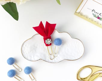 Peach Pom Glam Ribbon and Pom Paper Clip duo- Red & Blue