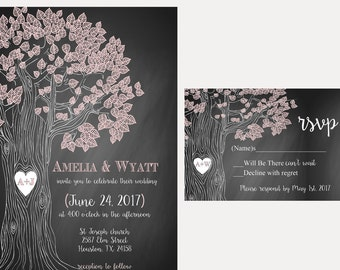 Tree chalkboard wedding invitation, rustic tree invitation, tree with heart in trunk wedding stationery, budget wedding invitations